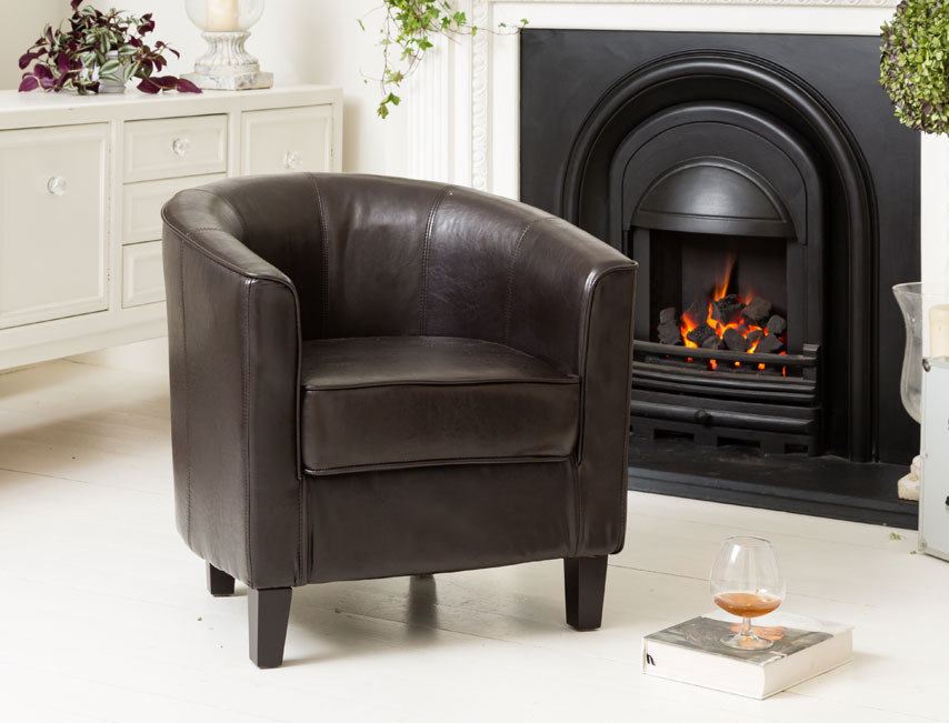 York tub chair brown