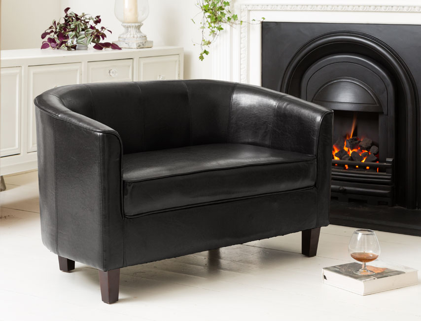 York 2 seat sofa black