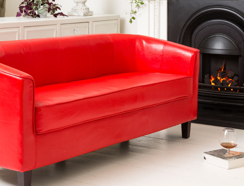 York 3 seat sofa red